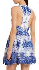 Alice + Olivia Embroidered Tulle White Blue Lace Dress New With Tags $550