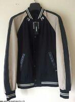 Mens DIESEL Eddie Giacca Jacket Black/Cream Leather sleeves Size XXL..BNWT