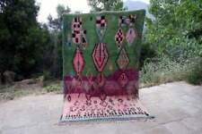 Vintage moroccan Boujad handmade berber rugs carpets azilal green tapis berber
