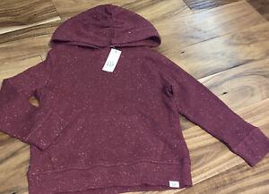 NEW NWT BABY GAP TODDLER BOY 5 Yrs Marled Maroon Hooded Sweatshirt POCKET-COMFY