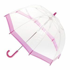 Children's Clear Birdcage Umbrella with Pink Trim
