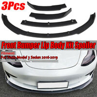 3PCS Matte Front Bumper Lip Lower Spoiler For Tesla Model 3 Sedan 2016-2019