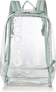 Adidas Clear Linear Backpack School Travel Gym Bag PVC Transparent / Green NWT