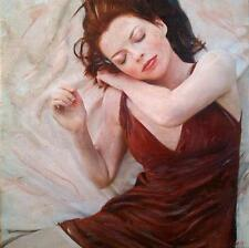 "WILLIAM OXER ORIGINAL CANVAS ""The Red Dress"" girl woman lady  PAINTING"