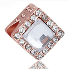 Wholesale 1pcs Rose gold CZ European Charm Beads Fit 925 Bracelet Necklace