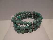 Turquoise Stretch Bracelet Artisan Crafted 3-Strand Green