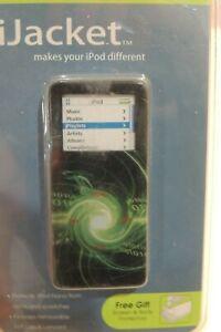 iJACKET iPOD NANO 1G ELECTRIC GREEN SWIRL CASE PROTECTOR W BELT CLIP LANYARD NEW