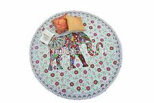 """Round Indian Elephant Tapestry Ethnic Picnic Blanket Decorative 72"""" Table Cover"""