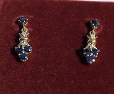 Dainty 14K Karat Yellow Gold Sapphire Diamond Pierced Earrings