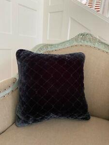 "Bella Notte Silk Velvet Quilted Throw 18""  Pillow COVER Dark Gray graphite Grey"