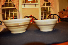 Pair of Small Vintage Yellow Ware Bowls with Brown Bands