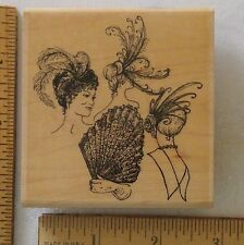 """Stampabilities Wood Rubber Stamp Vintage Ladies FEATHERS & FANS I1035 3¼x3"""" USED"""