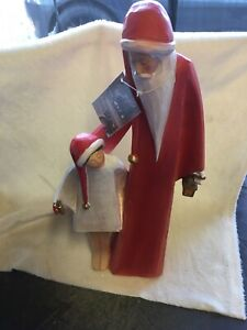 Heaven Sends Tall 38cm Santa With Friend In Long Hats Christmas Decoration - 566