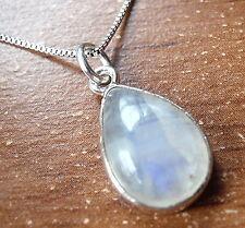 Rainbow Moonstone Teardrop 925 Sterling Silver Pendant Corona Sun Jewelry