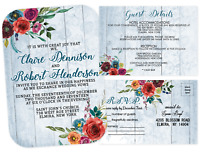 Country Western Wedding Invitations Cowgirl Boho Blue Red Custom Cottage Rustic