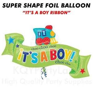 "Super Shape Jumbo Foil Balloon ""It's a Boy Ribbon"" Helium Air Birthday Party"