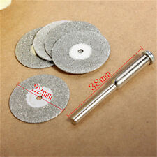 5PCS Emery Diamond Coated cutting Tool blades Drill Bit Discs 22mm +1 Mandrel