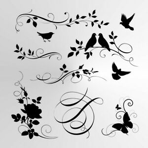 BIRDS & FLOWERS SET Reusable Stencil A3 A4 A5 Shabby Chic Nature Mylar / BIRD7