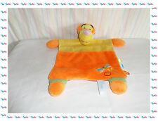 C - Doudou Semi Plat Carré Tigrou Orange Jaune Libellule Disney Baby Nicotoy