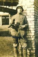 German Stormtrooper Soldier w/Bergmann MP18.1 in Northern France-1918 Photo