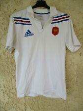 Polo rugby EQUIPE DE FRANCE blanc ADIDAS coton shirt manches courtes S