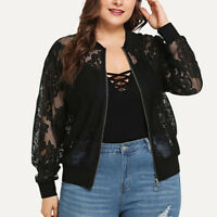 Womens Plus Size Loose Solid Lace Long Sleeve Shawl Cardigan Tops Beach Cover Up