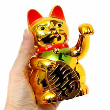 """5"""" Golden Chinese Fortune Wealth Lucky Money Waving Cat Feng Shui Decoration"""