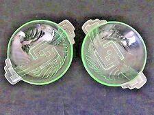 Par De Platos De Cristal Verde Sundae década de 1930 Deco