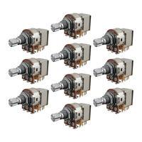 10PCS Guitar Pots A250K Pots Push Pull 15mm Short Split Shaft Potentiometers