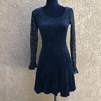 Womens Vtg Betsey Johnson Dress VELVET Black SKATER Fit Flare Sz S USA 90s Lace