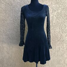 TJ Betsey Johnson VINTAGE Dress VELVET Black SKATER Fit & Flare S USA 90s Lace