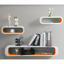 Floating Wall Shelf Shelves Storage Lounge Cube Mounted Display MDF Wood U057 White-orange
