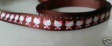 "3 yardas - 10mm (3/8"") de ancho Marrón/Rosa Hello Kitty Adorno De Cinta del Grosgrain"