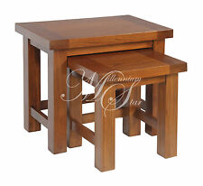 Solid Wood Chunky Dark Oak Nest Of 2 Tables