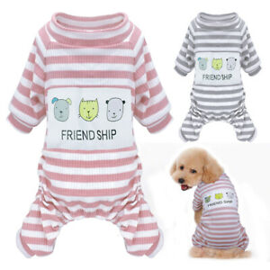 Soft Dog Pajamas Clothes Striped Jumpsuit Small Medium Dogs Sleepwear Puppy Cat
