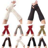 Women's Fingerless Gloves Wrist Arm Warmer Knit Winter Thick Mittens Thermal