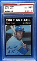 1971 TOPPS BASEBALL #493 DAVE MAY PSA 8 NM-MT MILWAUKEE BREWERS
