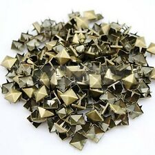 100 x Metal pyramid bronze studs 9mm stud Rivet Punk spike spots Diy