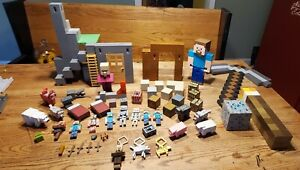 Minecraft Lot Random Survival Mode Playset with Figures Extras Torch Pickaxe