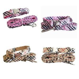 Designer Dog Collar Leash Tartan Plaid Burb Dog Puppy Set Suit XS S Small Pets🎁