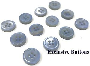 1950s Vintage Sm Rimmed 4-Hole White Mother of Pearl Shirt Dress Buttons-11mm