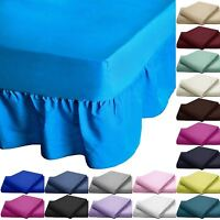 100% Egyptian Rich Cotton Extra Deep Frilled Valance Fitted Sheets In 15 Colours