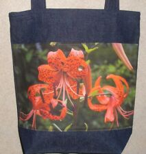 NEW Handmade Large Orange Lily Lilies Floral Flowers Photo Denim Tote Bag Gift