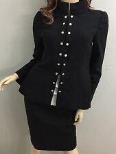 Chanel suit like sz 4/6 Black jacket & skirt Military style
