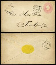GERMANY BADEN 1870 STATIONERY 3K SINSHEIM...WAFER SEAL CARL FISCHER