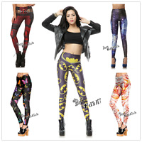 Hot Deadpool/Batman/ Star Floral Print Leggings Soft  Yoga Sports Stretch Pants