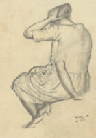 Harold Hope Read (1881-1959) - Charcoal, Sitting Female Figure with Raised Arms
