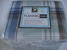 Living Quarters Ultra Cozy HW Flannel QUEEN SHEET SET - Blue plaid