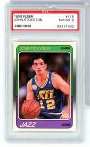 1988-89 FLEER JOHN STOCKTON #115 PSA NM-MT 8 UTAH JAZZ ROOKIE WC8006