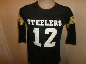 Vtg 80's Black Rawlings Pittsburgh Steelers #12 Terry Bradshaw Jersey Youth L